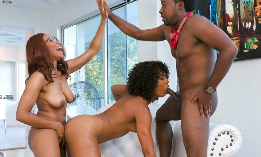 Ebony White Cock Threesome