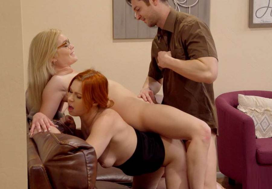 Family Incest Threesome - Edyn Blair & Katie Kush - Special Delivery for Mom and Daughter HD mp4 720p