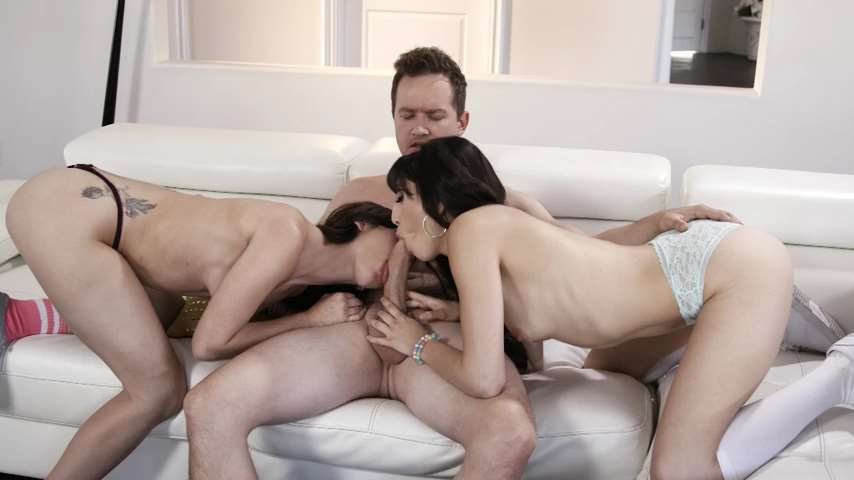 Brunette Babes Gianna Gem and Judy Jolie Team up on His Dick