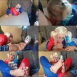 Suicide squad Porn Parody – Candycherry – Harley Quinn makes a Footjob to the Joker HD