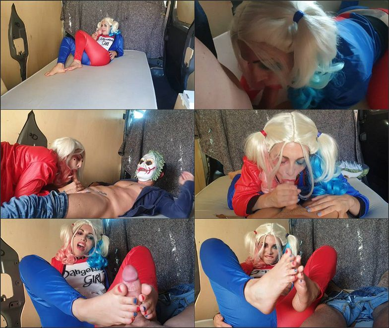 Harley Quinn makes a Footjob to the Joker