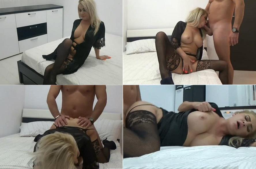 Curvy Stepmom puts sexy black lingerie to seduce her young Son